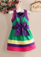 wholesale free shipping summer Collar girl  BOW dress kid's clothes kid's wear 6pcs/lot TS89