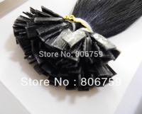 "20"" 1g/s indian remy human Keratin flat tip hair extension #1 jet black 100gram/pack"