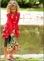 Children's clothing limited edition monsoo female child flower slanting stripe soft screen cotton one-piece dress