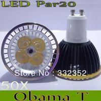 Free shipping  50X Dimmable Gu10 Par20 4X3W 12W AC85-265V High Power Led Light Bulbs LED Lamp Spotlight Good quality