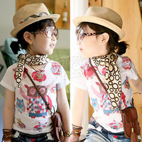 2013 summer owl summer boys clothing girls clothing baby child short-sleeve T-shirt tx-1612