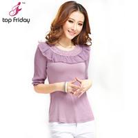 Topfriday 2013 spring and summer women t-shirt half sleeve slim lace basic short-sleeve shirt plus size