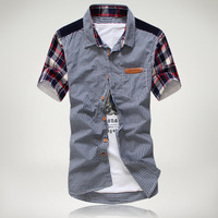 Ship Free 2013 summer hot-selling sleeve casual plaid shirt male short-sleeve shirt c734d-p65 navy blue