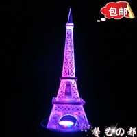 Free shipping New Arriveal Fancy Heterochrosis crystal Eiffel Tower model lamp birthday gift girls gift male