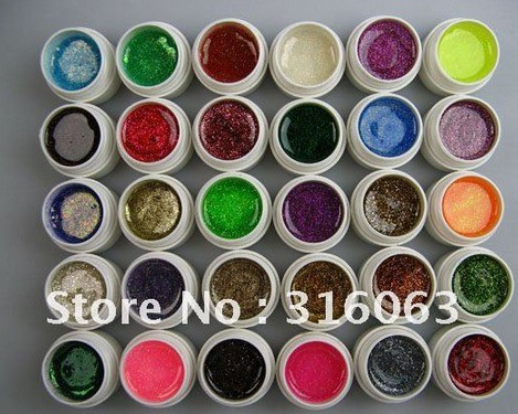 Hot Sell 5ml/pcs 30PSC/Set Fashion Colorful UV Gel Set Glitter Shining For Decoration Nail Art(China (Mainland))