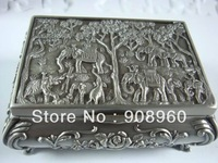 new arrive Chinese Beautiful tibet silver carved elephant&Rose jewelry box  fashion jewelry