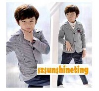 new arrival autumn winter boy coat fashion cool vertical stripe slim blazer for 3~9Y free shipping wholesale drop shipping