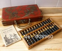 new arrive Chinese HAND dragon phoenix leather wood box with a abacus inside fashion jewelry