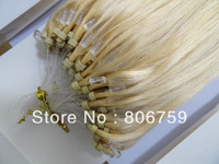 """200s18"""" 125s20"""" 100s22"""" 100% Indian Remy Micro ring Loop hair extension #60 platinum blond 100gram/pack STOCK"""