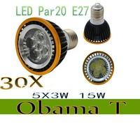 30pcs/lot New Arrival Par20 Led Lamp E27 E14 Dimmable 5X3W 15W Spotlight Led Light Led Bulbs 85V-265V Energy Saving Freeshipping