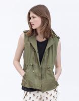 FREE SHIPPING 2012 new arrival Women fashion casual turn-down collar sleeveless zipper rivets drawstring military vest