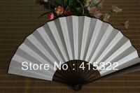 Free Shipping 10pcs/lot DIY white color Chinese style bamboo silk hand fan handmade Chinese bamboo gifts & crafts