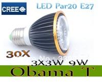 Free shipping 30X Dimmable Led Lamp E27 Par20 3X3W 9W Spotlight 85V-265V Led Light Led Bulbs with good quality