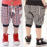 2013 summer plaid boys clothing girls clothing baby child capris 5 pants kz-1597