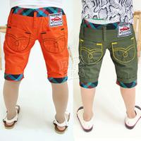 2013 summer roll up hem plaid boys clothing baby child capris 5 pants kz-1872