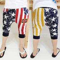 2013 summer m word flag boys clothing baby child capris 5 pants kz-1871