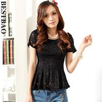 4044 fashion sweet lace shirt elegant slim puff sleeve sweep bestbao female brief