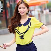 4270 fashion sweet chiffon shirt fresh color block decoration givlie ruffle bestbao female