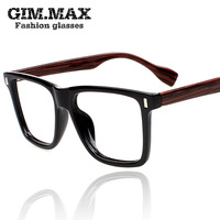 Free shipping Gimma vintage glasses wood grain eyeglasses frame myopia black square plain glass spectacles