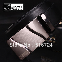 Free Shipping 2013 new men's leather fashion belt, automatic buckle leather belt