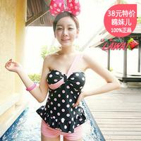 Polka dot oblique - women's i small push up swimwear split skirt swimsuit