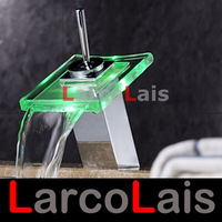 Basin Waterfall Glass Faucet  Mixer Tap 3 Color Changing RGB LED Battery Power Bathroom Sink Brass Chrome
