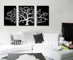 3 Piece Free Shipping Hot Sell Modern Wall Painting White Tree Home Decorative Art Picture Paint on Canvas Prints BLAP85(China (Mainland))
