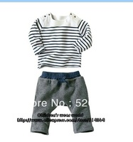 free shipping 2013 children boy 2pcs clothing set,spring autumn suits long sleeve Striped t -shirt + pants 3set/lot