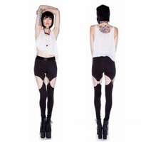 Free shipping hot fashion personality 2014 spaghetti strap legging pants garter slim legging neon powder black