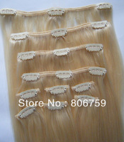 "120g/set #613 lightest blond Full Head Indian Remy Clip in Human hair extension 16""18""20""22""24""26""28""30"" colour Optional"