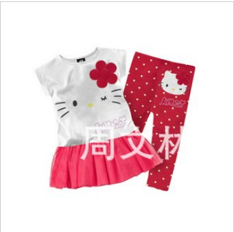 In Stock! 2color hello kitty clothing sets children short sleeve t-shirt+pants children summer clothing set baby suit(China (Mainland))
