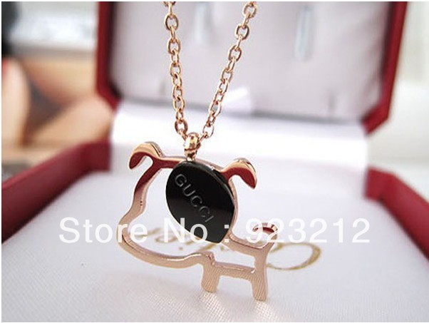 Min order $25(mix order) 18k gold plated hip hop lace collar charming dog necklace infinity,titanium steel jewelry free shipping(China (Mainland))