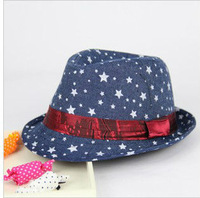 The Novelty of Summer 2013 Free Shipping Tops Wholesale Cowboy Jean Jazz Hat Children Outdoor Stars Caps British Sun Hat s295