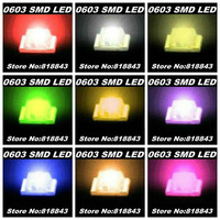 9Valuesx100pcs=900pcs New 0603 Ultra Bright SMD Red/Green/Blue/White/Yellow /Warm White/Orange/Pink/Purple LED kit