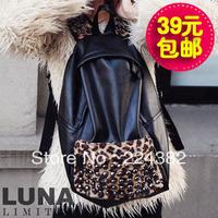 Fashion leopard print 2013 rivet vintage backpack fashion student school bag fashion women's handbag bag