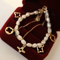 High quality pearl four leaf clover double layer meters flower bracelet female accessories