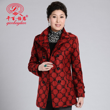 Middle-age women spring outerwear stand collar small flower long design quinquagenarian clothes mother clothing woolen outerwear