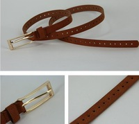 FREE SHIPPING 2013 all-match genuine leather mixed cutout thin beltS for women  pigskin thin belts NPD51