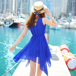 Sleeveless chiffon one-piece dress ol elegant slim summer casual Sky Blue chiffon skirt(China (Mainland))