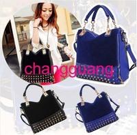 NEW  Arrival Korean Fashion Women lLdy Rivet Tote Shoulder Messenger Handbag Hobo Bag Wholesale Price Women's Bag Free Shipping
