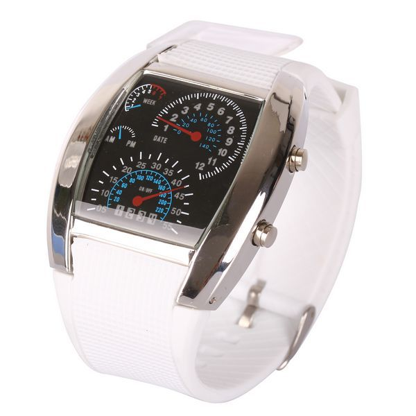 Sports Car Meter Dial Men RPM Turbo Blue & White Flash LED Watch BRAND NEW Gift(China (Mainland))