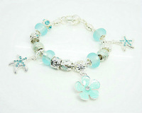 Free shipping!!Hot Wholesale European Murano Glass Crystal  Beads Sterling Silver Charm Bracelet XB169