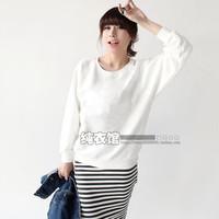 Autumn thin women's o-neck solid color sweatshirt casual long-sleeve basic sweatshirt women's pullover sweatshirt white