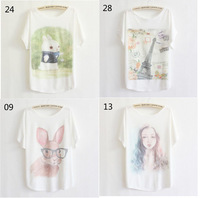 2013 thin plus size loose batwing sleeve women's short-sleeve T-shirt print tee womens t shirt 40 model