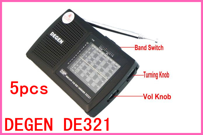 DHL 5pcs Shipping DEGEN DE321 FM Stereo MW SW Radio DSP World Band Receiver(China (Mainland))