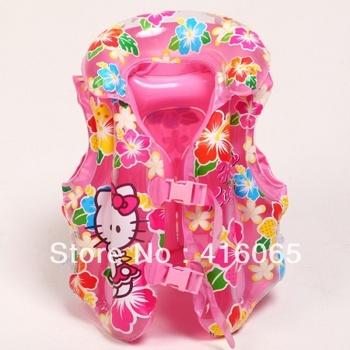Free Shipping KT Cat Children Inflatable Swimming Vest 45*35CM Baby Life Vest Long card buckle belt adjustment Life Garment Coat
