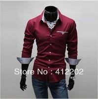 Free Shipping 2013 Brand New Item Design Fashion Mens Shirts Casual Slim Fit Stylish Dress Shirts 3 colors Size:M~3XL 5907