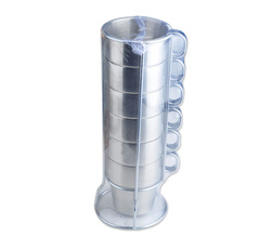 Free shipping Double layer stainless steel cup coffee cup folding piece set cup holder tower cup steel wire cup holder(China (Mainland))