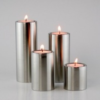 Cylindrical stainless steel candle holder 4-pieces set birthday gift home decoration