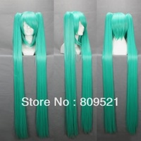 FREE SHIRRIN 120cmX Long Vocaloid-Miku Light Green Anime Cosplay wig+ 2 Clip On Ponytail COS-042E